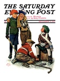 """Hockey Waits, Tying Skates,"" Saturday Evening Post Cover, December 17, 1927 Giclee Print by Alan Foster"