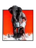 """Watering the Elephant,""July 14, 1923 Giclee Print by F. Lowenheim"