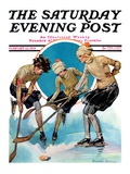 """Girls Playing Ice Hockey,"" Saturday Evening Post Cover, February 23, 1929 Giclee Print by Blanche Greer"