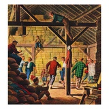 """Square Dance in the Barn,""November 1, 1947 Giclee Print by W.W. Calvert"