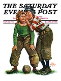 &quot;Football Huddle,&quot; Saturday Evening Post Cover, November 12, 1927 Reproduction proc&#233;d&#233; gicl&#233;e par Alan Foster