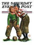 """Football Huddle,"" Saturday Evening Post Cover, November 12, 1927 Giclee-trykk av Alan Foster"