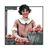 """Baskets of Peaches,""August 4, 1923 Giclee Print by Katherine R. Wireman"