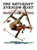 """Wipeout on Skis,"" Saturday Evening Post Cover, March 3, 1928 Giclee Print by Eugene Iverd"