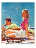 """Couple on Sailboat,""August 1, 1939 Giclee Print by McClelland Barclay"