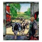 """Milking Time,""July 1, 1946 Giclee Print by Matt Clark"