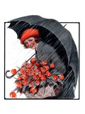 """April Showers and Basket of Flowers,""April 26, 1924 Giclee Print by E. Troth"