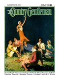 """Couples by Bonfire,"" Country Gentleman Cover, September 1, 1931 Giclee Print by Frank Bensing"