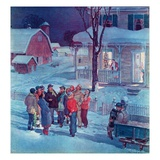 """Christmas Carollers,""December 1, 1945 Giclee Print by Henry Soulen"