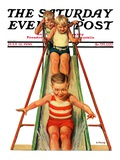 """Sliding into Water,"" Saturday Evening Post Cover, July 12, 1930 Giclee Print by Lawrence Toney"