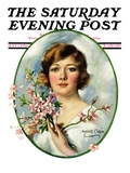 &quot;Woman and Dogwood,&quot; Saturday Evening Post Cover, May 1, 1926 Giclee Print by William Haskell Coffin