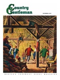 """Square Dance in the Barn,"" Country Gentleman Cover, November 1, 1947 Giclee Print by W.W. Calvert"