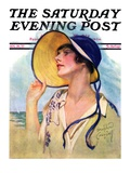 """Woman at the Shore,"" Saturday Evening Post Cover, August 20, 1927 Giclee Print by Bradshaw Crandall"