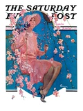 """Woman on Floral Swing,"" Saturday Evening Post Cover, May 19, 1928 Giclee Print by Elbert Mcgran Jackson"