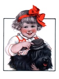 """Little Girl Brushing Dog,""July 7, 1923 Giclee Print by E.M. Wireman"