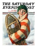 """Woman and Snowshoes,"" Saturday Evening Post Cover, January 26, 1929 Giclee Print by William Haskell Coffin"