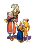 """Arab Vendor and Children,""September 21, 1929 Giclee Print by Henry Soulen"