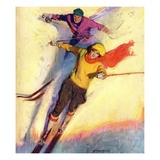 """Downhill Skiing,""January 1, 1927 Giclee Print by McClelland Barclay"