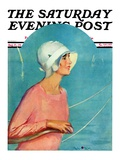 &quot;Woman at the Rudder,&quot; Saturday Evening Post Cover, August 17, 1929 Giclee Print by Penrhyn Stanlaws