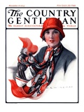 """Woman in Red Cloche and Scarf,"" Country Gentleman Cover, November 8, 1924 Giclee Print by Katherine R. Wireman"