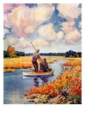 """Hunting from a Boat in the Marsh,""November 1, 1939 Giclee Print by Q. Marks"