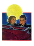 """Moonlit Car Ride,""January 7, 1933 Giclee Print by Eugene Iverd"