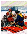 """Eskimo Family Meal,""March 1, 1928 Giclee Print by Frank Schoonover"