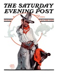 """Bronco Toss,"" Saturday Evening Post Cover, October 10, 1925 Giclee Print by Edgar Franklin Wittmack"