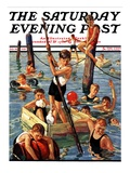 """Crowd of Boys Swimming,"" Saturday Evening Post Cover, July 28, 1928 Giclee Print by Eugene Iverd"