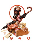 """Baby New Year Ready for War,""December 30, 1939 Giclee Print by J.C. Leyendecker"