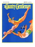 """Diving Women and Man,"" Country Gentleman Cover, August 1, 1932 Giclee Print by John Newton Howitt"