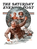 """Fisherman and Boys,"" Saturday Evening Post Cover, September 6, 1924 Giclee Print by Frederic Stanley"