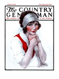 """Woman Tennis Player,"" Country Gentleman Cover, June 27, 1925 Giclee Print by J. Knowles Hare"