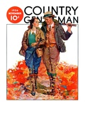 """Hunting Couple on Walk,"" Country Gentleman Cover, November 1, 1936 Giclee Print by J. Hennesy"