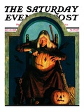 """Witch Carving Pumpkin,"" Saturday Evening Post Cover, October 27, 1928 Giclee Print by Frederic Stanley"