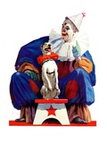 """Circus Clown and Pooch,""June 3, 1939 Giclee Print by John E. Sheridan"