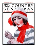 &quot;Woman in Winter Wear,&quot; Country Gentleman Cover, December 20, 1924 Giclee Print by J. Knowles Hare