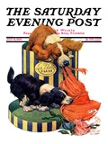 &quot;Dogs Eating Hat,&quot; Saturday Evening Post Cover, July 14, 1928 Giclee Print by Robert L. Dickey