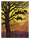 """Wild Turkeys Roosting,""November 1, 1938 Giclee Print by Paul Bransom"