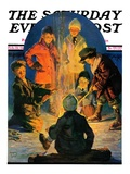 """Skaters' Bonfire,"" Saturday Evening Post Cover, February 21, 1931 Giclee Print by Eugene Iverd"