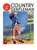 """""""Uncle Sam at the Crossroads,"""" Country Gentleman Cover, October 1, 1936 Giclée-tryk af Frank Lea"""