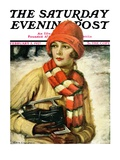 """Woman with Ice Skates,"" Saturday Evening Post Cover, February 5, 1927 Giclee Print by Edna Crompton"