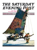"""Iceboat,"" Saturday Evening Post Cover, February 4, 1928 Giclee Print by Eugene Iverd"