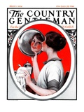 """Woman Reflected in Silver Tray,"" Country Gentleman Cover, March 1, 1924 Giclee Print by Katherine R. Wireman"