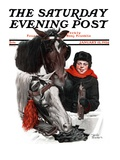 """Boy Watering Horses,"" Saturday Evening Post Cover, January 12, 1924 Giclee Print by Leslie Thrasher"