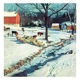 """Snowy Barnyard,""February 1, 1948 Giclee Print by J.c. Allen"