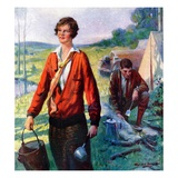 """Camping Couple,""June 1, 1927 Giclee Print by Harold Brett"