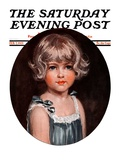 &quot;Little Girl in Blue,&quot; Saturday Evening Post Cover, February 7, 1925 Giclee Print by Arthur Garratt