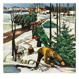 """Harvesting Christmas Trees,""December 1, 1942 Giclee Print by Francis Chase"