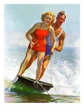 """Ski Boarding Couple,""June 27, 1936 Giclee Print by Robert C. Kauffmann"